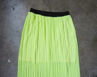 Neon Chartreuse Sheer Pleated Maxi Skirt Stretchy Summer Small Medium Vintage Inspired Stretchy