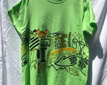 Painted Neon Green T-Shirt by Sam Pletcher /  Hand Painted Artist Clothing / One of a Kind Art