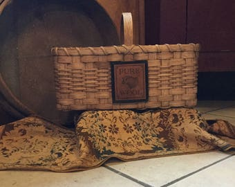 Wool tote basket, handmade market basket, punch needle project basket, rug hooking,