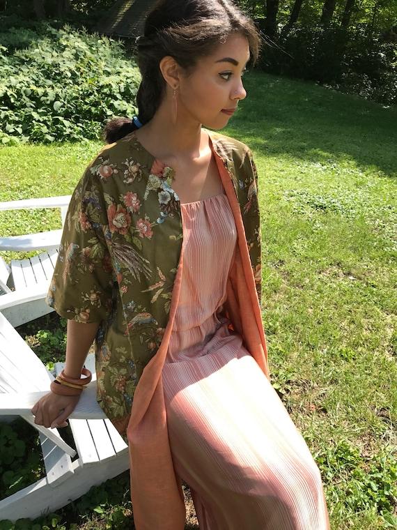 vintage 1950s Floral Kimono jacket / s, m