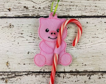 Pink pig candy cane holder ~ Christmas ornament ~ stocking stuffer ~ Classroom gift exchange ~ holiday decor