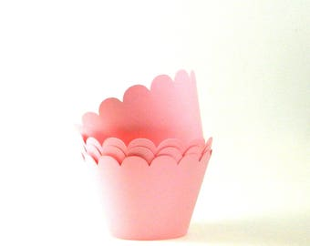 Light Pink Cupcake Wrappers Cupcake Wraps Party Supplies Table Decor Set of 12