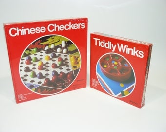Vintage Chinese Checkers and Tiddly Winks Game Lot - Pressman 1990s - Brand New