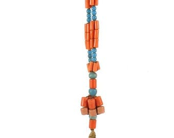 Necklace Mixed Trade Beads Coral Color Africa 109454