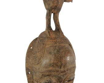 Yaure Portrait Mask with Bird on Top Cote D'Ivoire African Art 118791