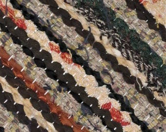Handwoven, Scandinavian style,  vintage look,rag rug -1.7' x5.67', brown, orange , creem, black, ready for sale
