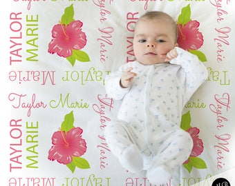 Flower baby blanket etsy hibiscus flower baby blanket baby girl personalized baby gift hawaiian blanket baby blanket negle Choice Image