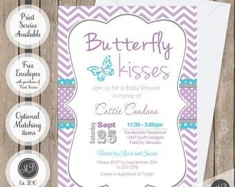 Butterfly kisses baby shower invitation, lavender butterfly baby shower invitations, turquoise, purple, chevron, printable invitation, bf2