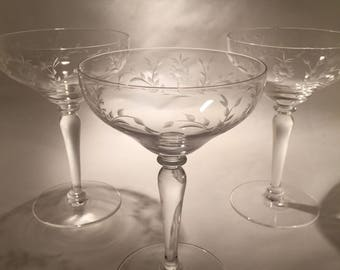 4 Crystal Champagne Coupes