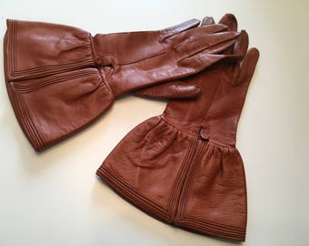 Vintage 1920s 1930s Leather Gauntlet Gloves 20s 30s Deco Gloves