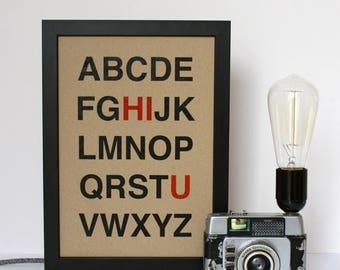 ON SALE Hi U Alphabet Typography Print