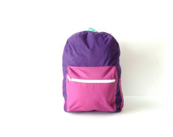 90s purple & teal color block  BACKPACK adventure school KNAPSACK book bag nylon