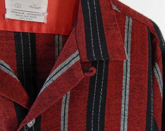 1950s Shirt. Loop Collar from Shirtcraft.  Red and Black Stripe.  Acrilan and Worsted Flannel.  Large.