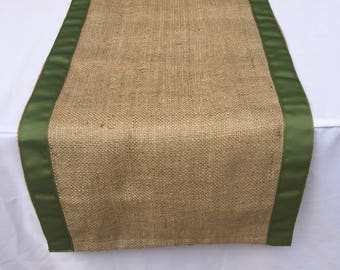 Burlap Table Runner with Moss Green Ribbon, READY to SHIP, on SALE,  Wedding, Shower, Party, Home Decor