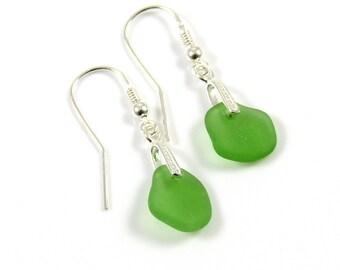 Emerald Green Sea Glass Sterling Silver Earrings - Worldwide Shipping - Ready to Ship