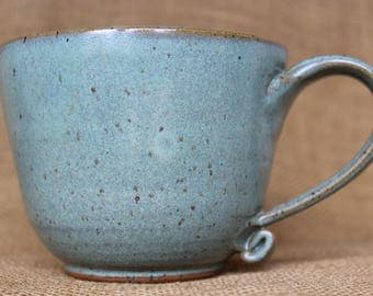 Large pottery coffee mug, Wheel thrown stoneware ceramic mug