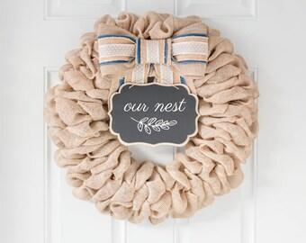 BEST SELLER! Spring Wreaths for Front Door, Front Door Wreaths, Easter Wreath Burlap Farmhouse Wreath, New Home Gift, Unique Wedding Gift
