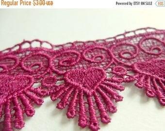ilovesales Wide Crochet Lace trim in Maroon- 1 yard