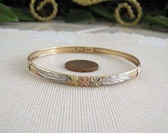 14K Gold Etched flower and leaf Bangle Bracelet, 5mm, tri-colors, wedding gift