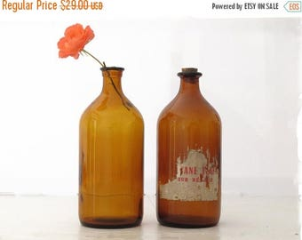 1 large brown glass vintage bottle of French pharmacy - amber apothecary jar - large brown glass vase