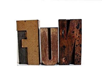 Big FUN . large letterpress blocks / word art . large wooden letter blocks . wood letters . f u n  wooden letters lot10