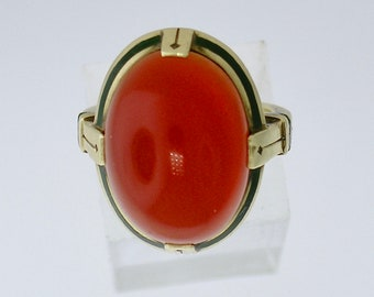 DECO CARNELIAN RING~Bold Art Deco Black Enameled 14k Carnelian Ring, Circa 1935