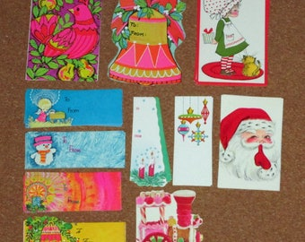 Lot of 50+ Vintage Christmas Tags Holly Hobbie Bell Snowman Santa Train Angel Hot Pink