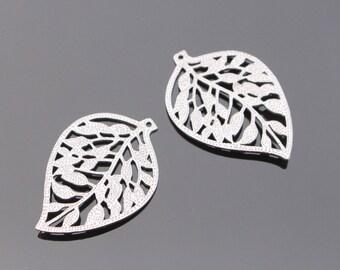 Matte Silver Detailed Medium Leaf filigree pendant, Earring connector, Leaf charm, 2 pc, JW8447