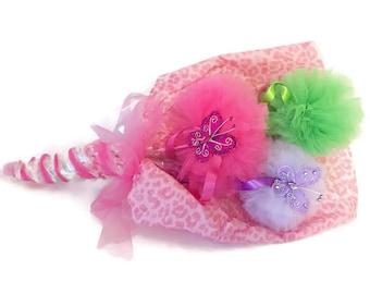 Butterfly Pom Pom Bouquet-Pink-Magic Wand-Bouquet-Recital-Birthday-Party Favor-Christmas-Princess