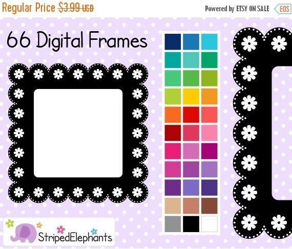 40% OFF SALE Lace Flower Square Digital Frames - Clip Art Frames - Instant Download - Commercial Use
