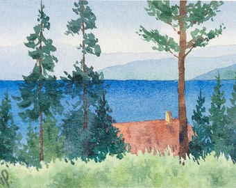 ACEO Original watercolor painting - Mountain lake cabin