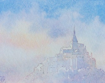 ACEO Original watercolor painting - Misty Abbey