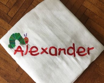 Muslin swaddle, baby blanket, personalized baby blanket, muslin, very hungry caterpillar, baby shower gift, personalized muslin blanket