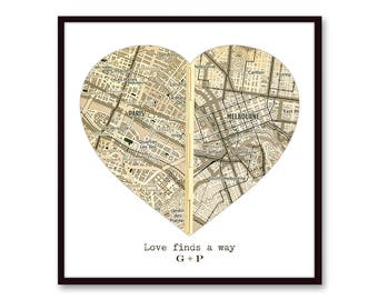 Personalized Map Gift for Boyfriend, Husband Gift, SEPIA Map Art, Anniversary Gift, Long Distance Relationship Gift, for Him, Romantic Gift