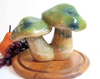 Groovy Ceramic Mushrooms Figurine, Vintage Ceramic Toadstools Statue, Blue Dots on Olive Green Caps