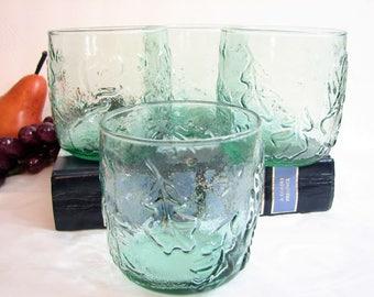 "Double Old Fashioned Glasses, Anchor Hocking Green Tint Embossed OAK LEAF & ACORN Rocks Tumblers 3 1/2"" 13oz, Set of 4, Vintage Barware"