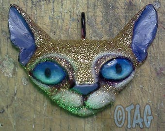 ORIGINAL OOAK Gold Glitter Space Kitty Pendant Necklace by Tom Taggart