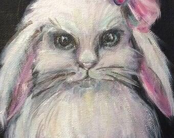 "Princess Bunny Painting Rabbit Painting Children's Art  Bunny Art Kids art original art 5 x 7"""