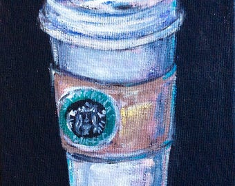 "Starbucks Coffee Cup Painting Original Art 7 x 5"""