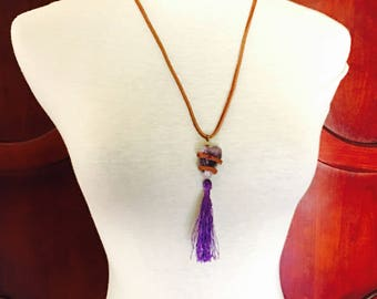 Boho tassel pendant /Necklace, large Amethyst quartz Pendant, suede, Made in the USA, Item no. L121