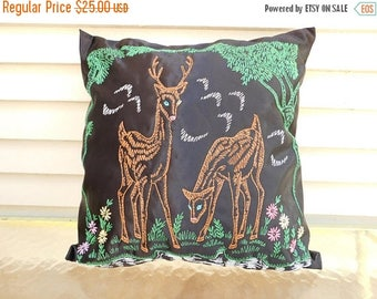 Birthday Sale Vintage Embroidered Deer Throw Pillow, Decorative Pillow, Woodland, Cabin, RV, Home Decor