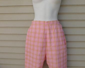 Birthday Sale Vintage Pink and Green Plaid High Waisted Preppy Long Shorts