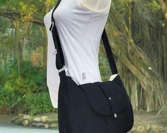 On Sale 20% off black cotton canvas bag / messenger bag / shoulder bag / cross body bag / everyday bag / diaper bag - 6 pockets