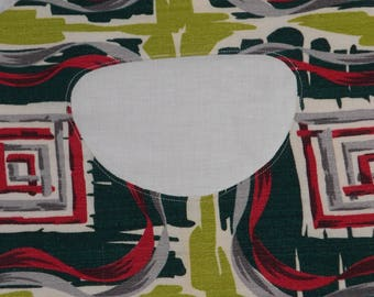 Vintage Bark Cloth Clothespin Holder -Retro Geometric Print - Green and Red Barkcloth - Retro Clothes Pin Bag - MADE TO ORDER