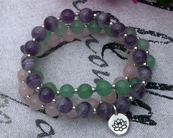 Prosperity, Love, Peace & Stability - Amethyst, Rose Quartz, and Aventurine Gemstone Lotus Bracelet Trio