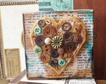 Heart Button Collage Mixed Media Assemblage Art