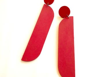 Red Wooden Earrings 2