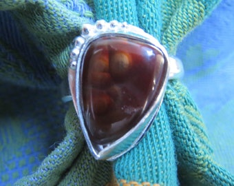 Mexican Fire Agate Free Form in Argentium Sterling Ring Size 7 & a Quarter