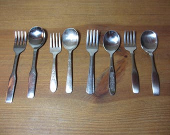 8 Assorted Baby Toddler Youth Stainless, 4 Forks and 4 Spoons, Oneida, Majesco, Sanitoy, Wm Rogers, Community Flatware