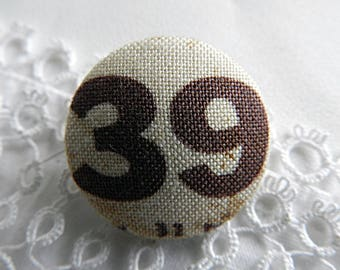 Button printed fabric number, 24 mm / 0.94 in diameter